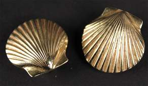 Pair of 14K Yellow Gold Shell Form Ear Clips