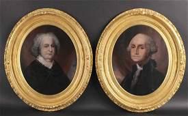 Two Oils on Board, George and Martha Washington