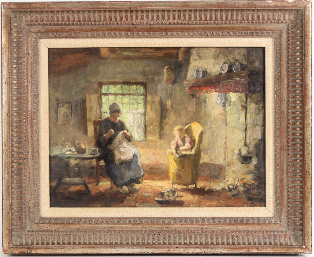 Oil on Board, Interior Scene, Evert Pieters