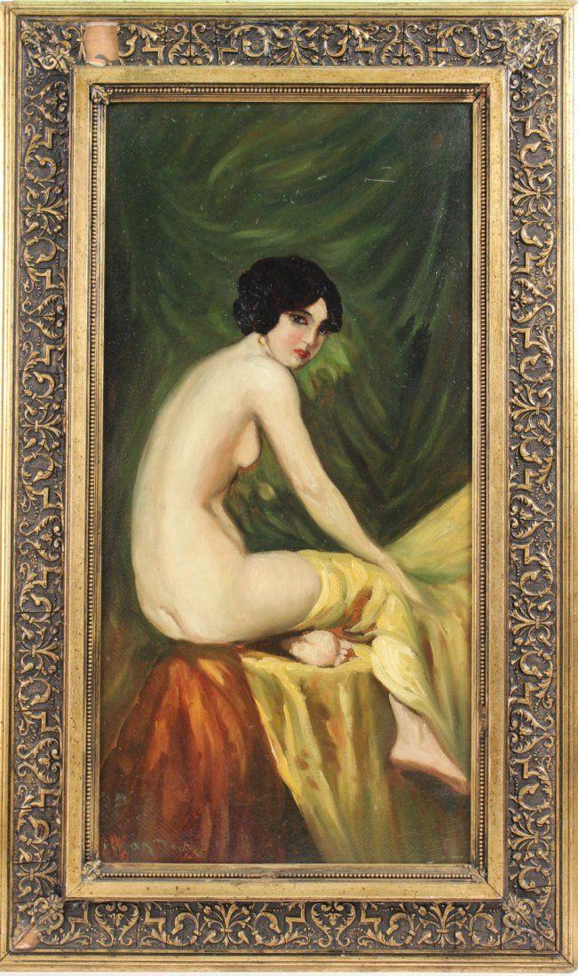Oil on Artist's Board, Nude Woman