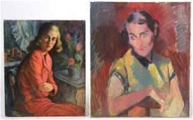 Oil on Artist's Board, Portrait of Woman in Red