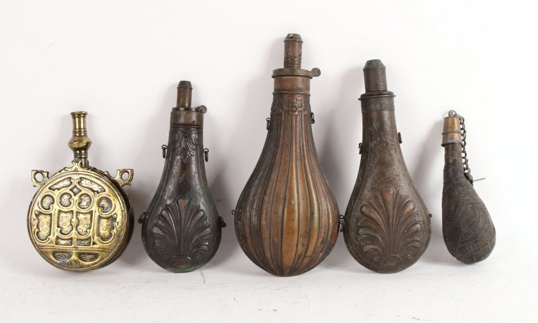 Five Metal and Leather Powder Flasks