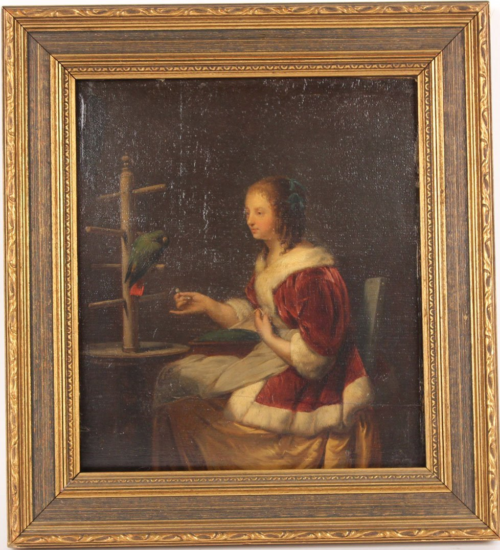Oil on Board, Lady with a Parrot