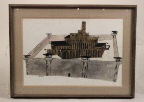 Ink Wash On Paper, Prison, Gregorio Prestopino