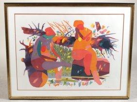 """Lithograph, """"pond,"""" Gregorio Prestopino"""