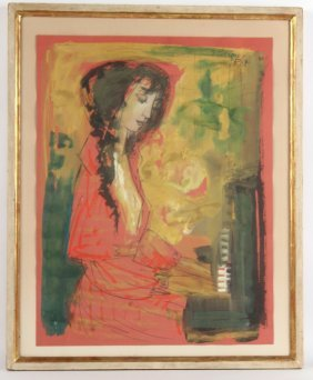 "Watercolor On Red Paper ""the Pianist"" Etienne Ret"