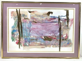 Color Lithograph, Abstract Landscape