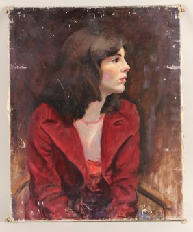Oil On Canvas, Woman In Red, Grace Higgins