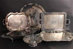 Four Silver Plated Trays