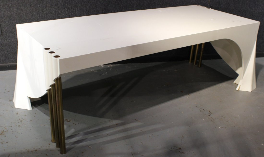 Contemporary White-Lacquered and Brass Desk