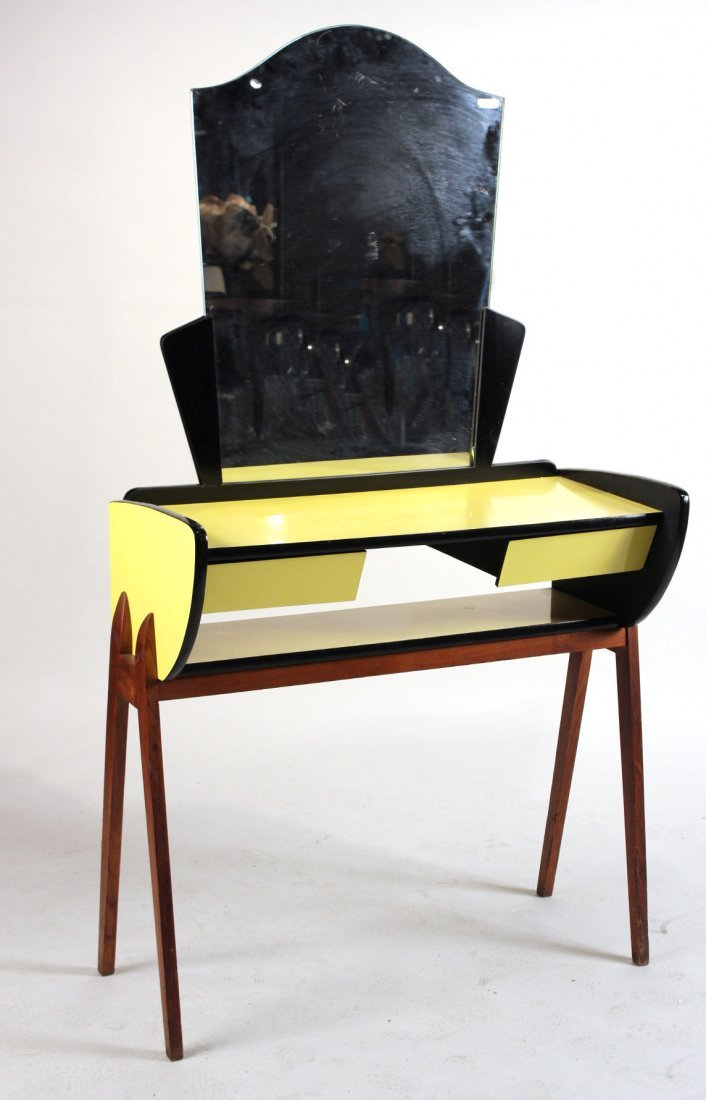Modern Yellow and-Black Lacquer Vanity