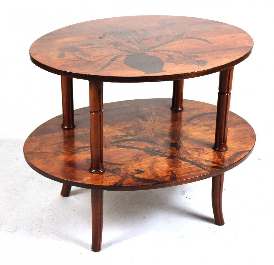 Emile Galle Art Nouveau Marquetry Tiered Table