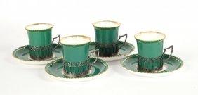 Four Royal Worcester Porcelain Cups & Saucers