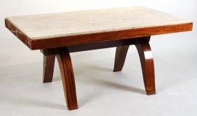 Art Deco Stone Top Mahogany Dining Table
