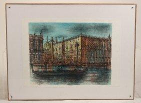 Lithograph, Venetian Canal Scene, Jean Carzou
