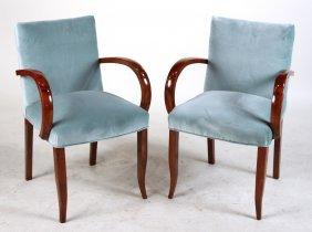 Pair Of Art Deco Mahogany Open Armchairs