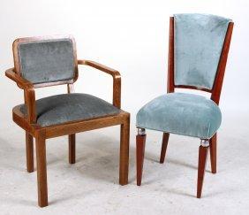 Art Deco Green-upholstered Oak Armchair
