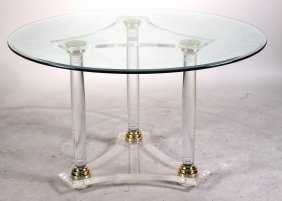 Modern Brass, Lucite, And Glass Top Center Table