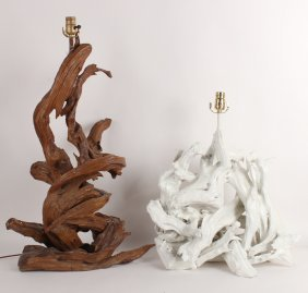 Two Painted Driftwood Table Lamps