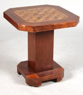 Art Deco Inlaid Mahogany Octagonal Side Table