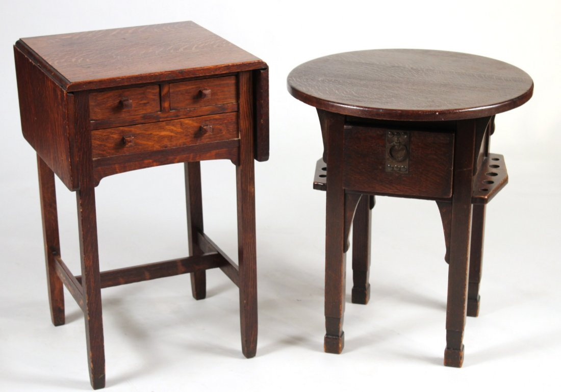 Two Arts and Crafts Style Oak Side Tables