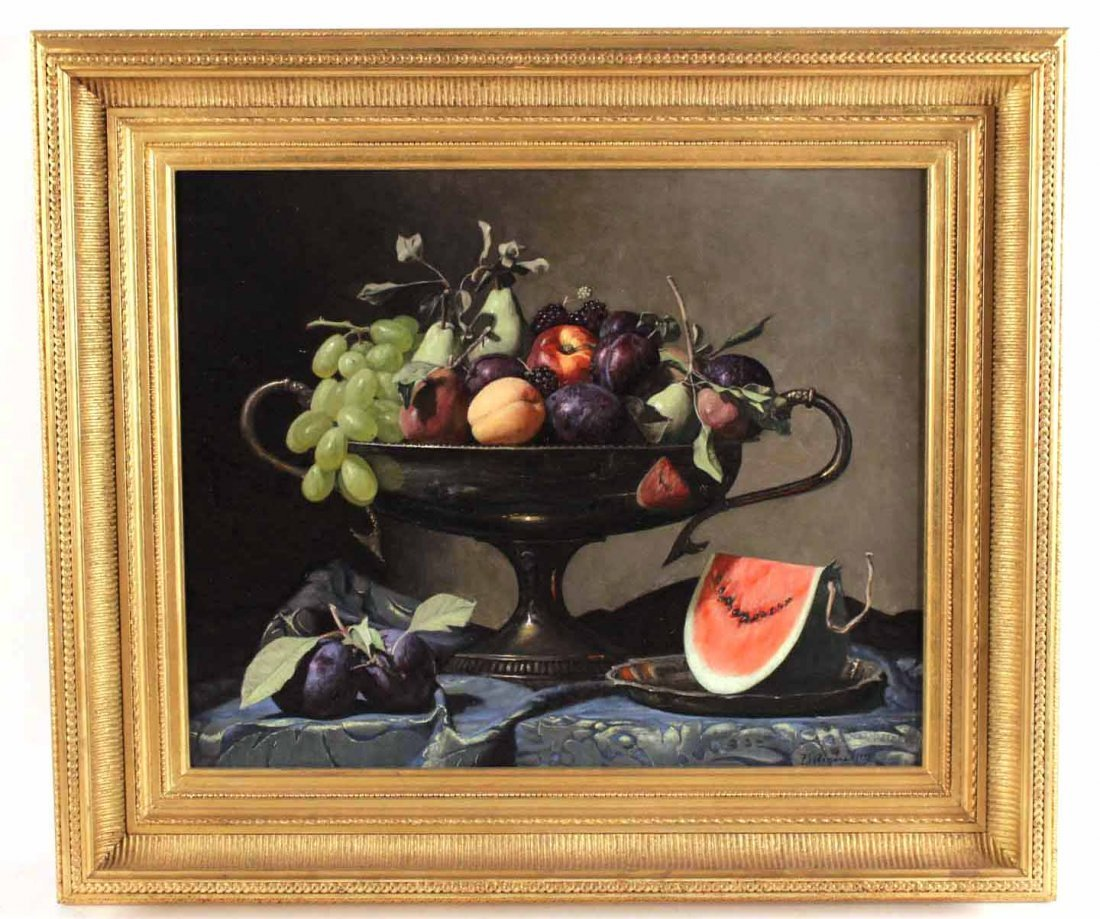 Oil on Canvas, Still with Fruit, Frank Arcuri