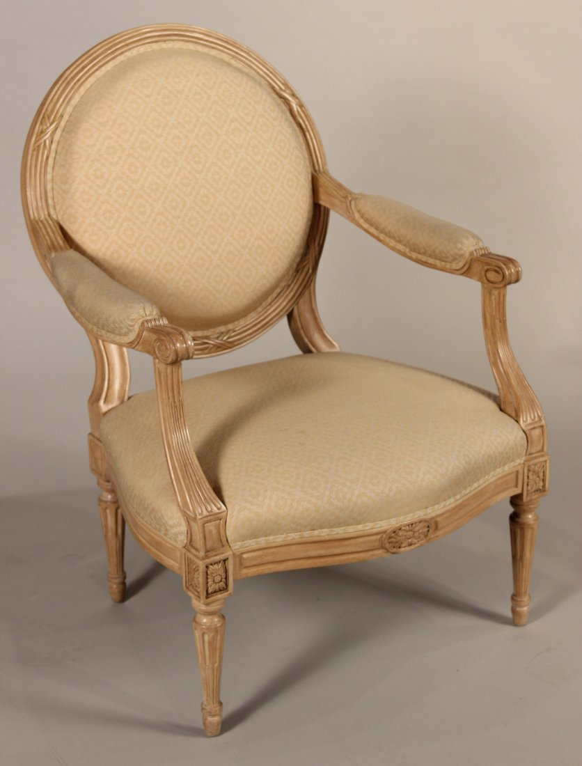 Louis XVI Style White-Stained Maple Fauteuil