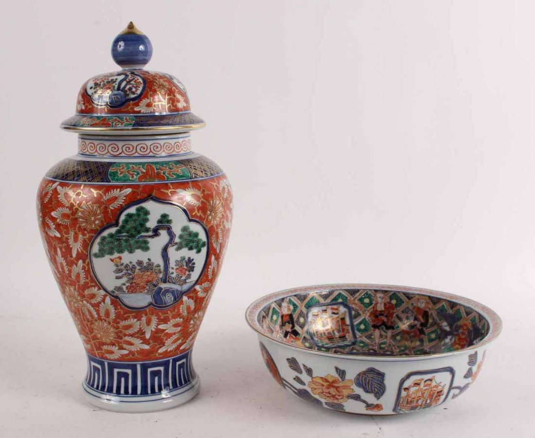 Imari Pattern Porcelain Ginger Jar and Bowl