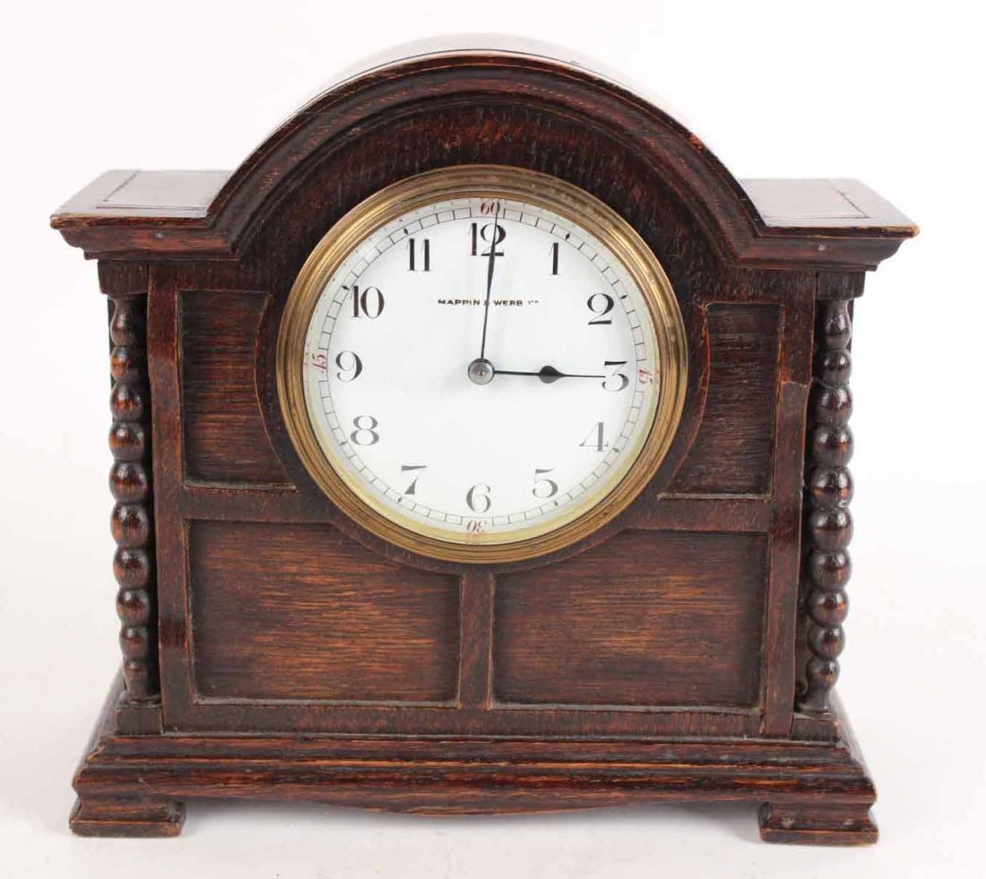Arts and Crafts Style Oak Mantel Clock