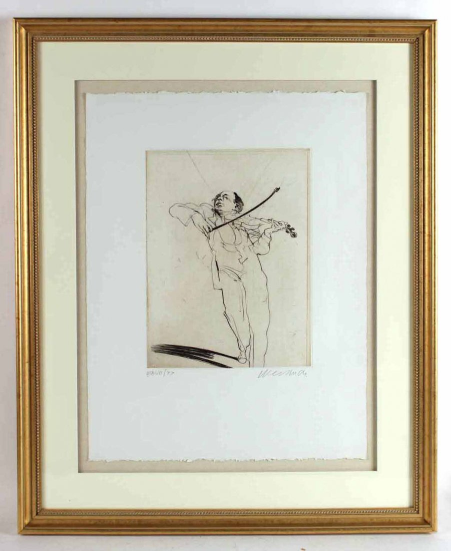 Black and White Etching, Violinist,  Claude Weisbuch