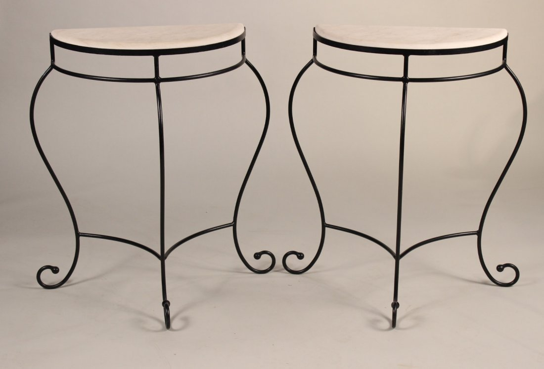 Pair of Wrought-Iron & Limestone Demi-Lune Tables
