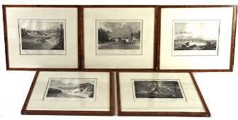 Three Lithographs, Views Along the Hudson Scenes