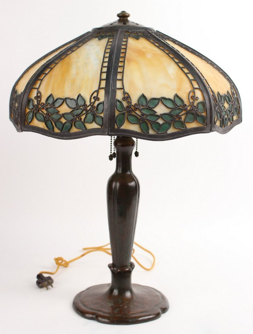 Handel Bronze and Slag Glass Table Lamp