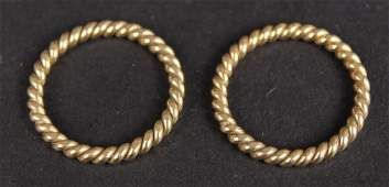 Two Unmarked Yellow Gold Rope Form Guard Rings