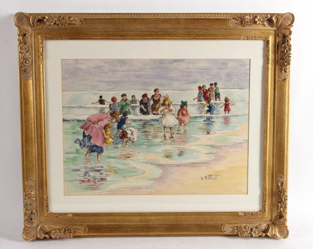 Watercolor, Beach Scene, Edward Henry Potthast