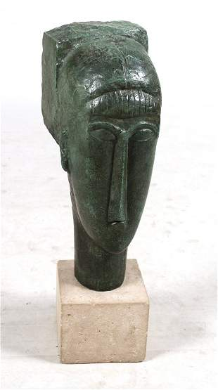 Patinated Bronze Sculpture, Head of a Woman