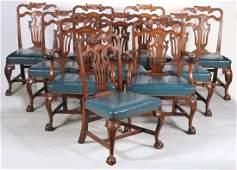 Ten George II Style Walnut Dining Chairs