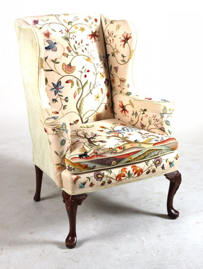 Georgian Style Crewelwork-Upholstered Wing Chair
