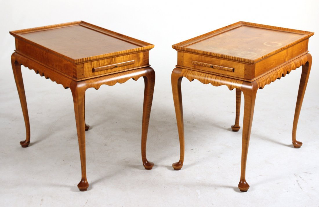 Pair of Eldred Wheeler Tiger Maple Tea Tables