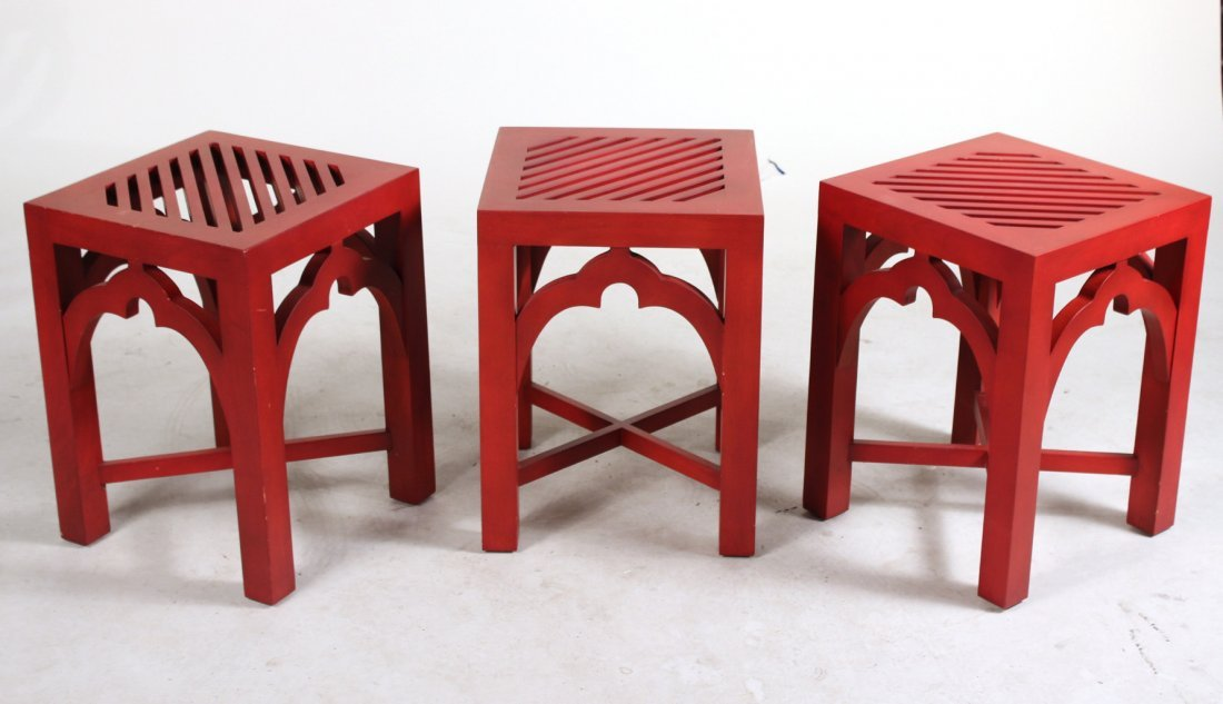 Three Red-Painted Side Tables