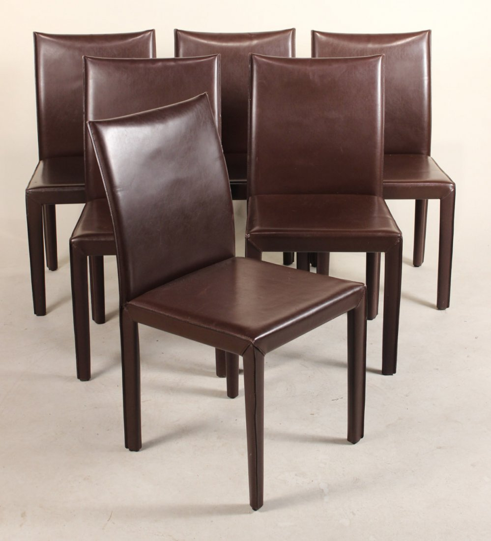 Six Brown-Leather Dining Chairs