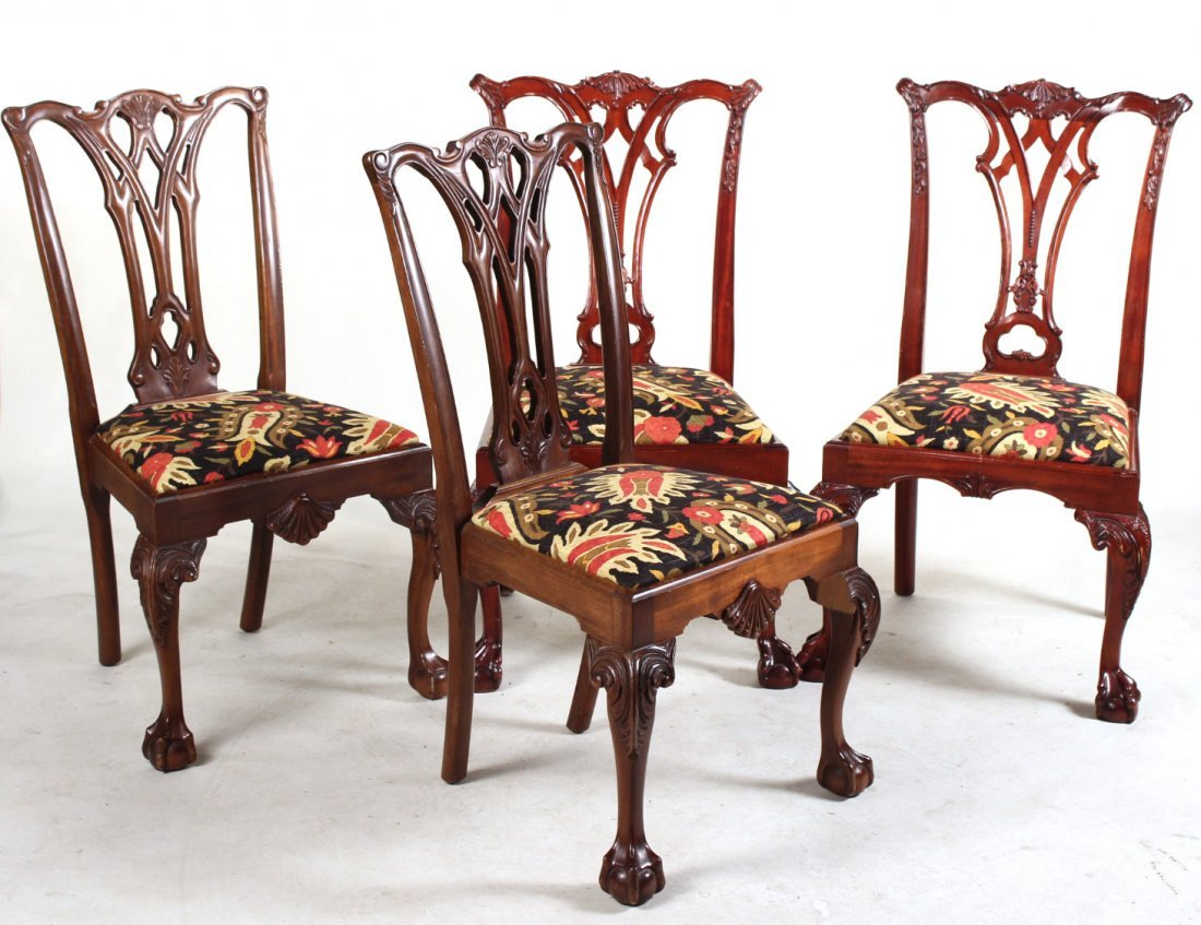 Two Pairs of Chippendale Style Side Chairs