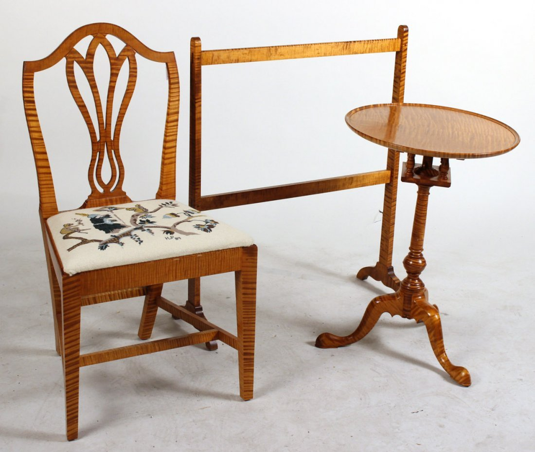 Tiger Maple Chair, Candlestand, and Quilt Rack