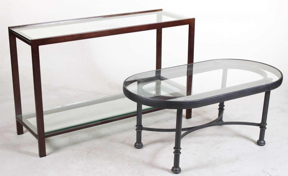 Patinated Metal and Glass Pier Table