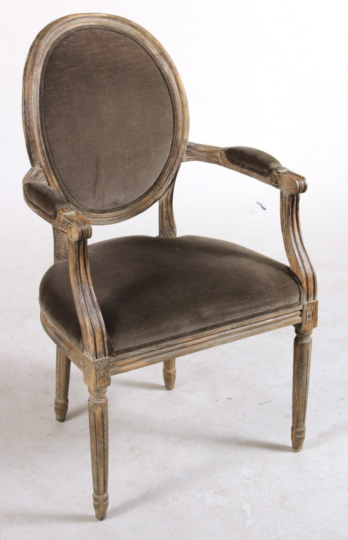Louis XVI Style Grey-Stained Fauteuil