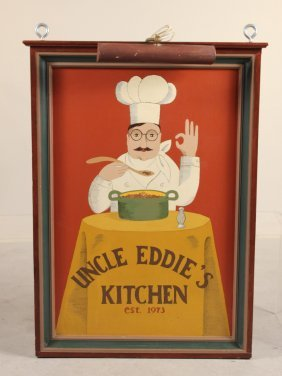 Painted Wood Sign, Uncle Eddie's Kitchen