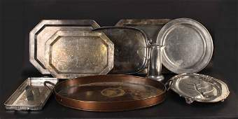 Large Group of Silver Plated Copper Metal Trays
