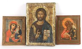 Three Painted Wood Panel Russian Icons