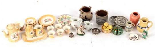 Group of Miniatures and Dollhouse Items