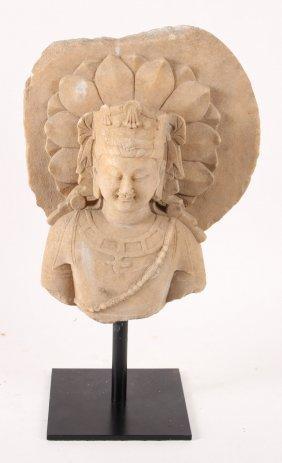 Carved Stone Deity Sculpture Fragment